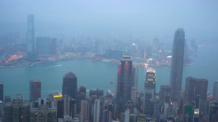 icc : 4k b-roll cinematic establishing shot of night scene aerial view of Hong Kong city.