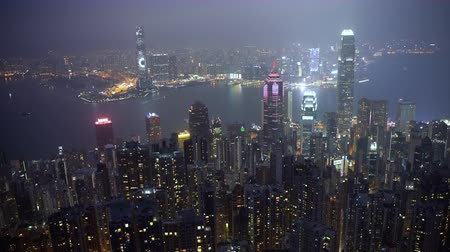 icc : 4k b-roll cinematic establishing shot of night scene aerial view of Hong Kong city. Clip may contain noise due to low light and high ISO setting. Stock Footage