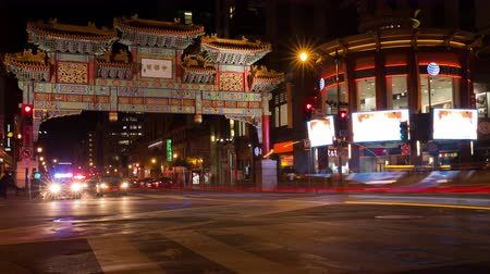 intricacy : Chinatown Timelapse at Night in Washington, DC Stock Footage