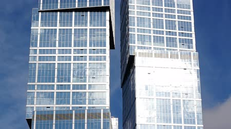 glass structure : Skyscraper towers, close-up Stock Footage