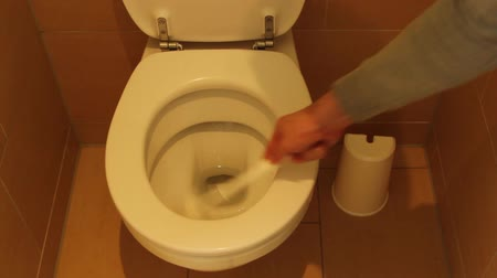уборная : Cleaning the toilet Стоковые видеозаписи