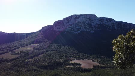 Winter view of Saint Loup Peak, North Face, Herault, Occitanie, Chateau de Vivioures