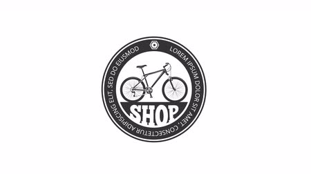 manivela : Bicycle logo animations. Two retro video labels for cycling clubs or biking Stok Video