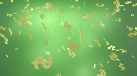 изобилие : Green background, raining golden dollar signs