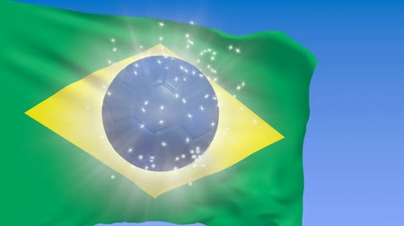 Brazil flag with shining soccer ball, 2014 World Cup