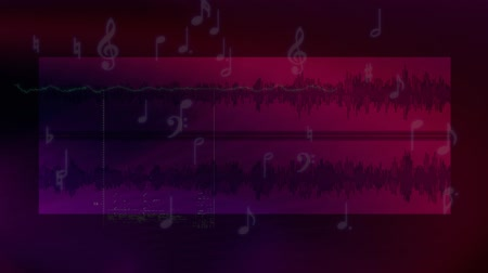 Purple audio background with notes and waveforms