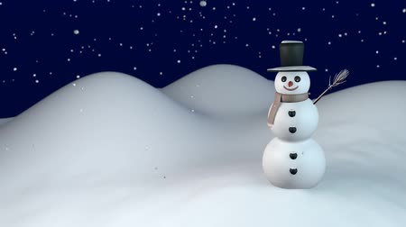 Snow falling on smiling snowman Wideo