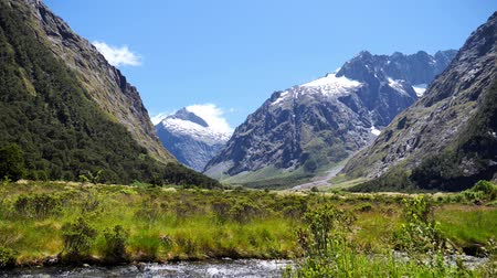Beautiful view at Fiordland National Park, New Zealand Wideo