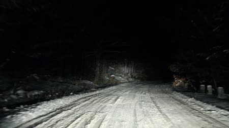 bos winter : Mountain Forest Road Op Een Winter Night, Sinaia, Roemenië