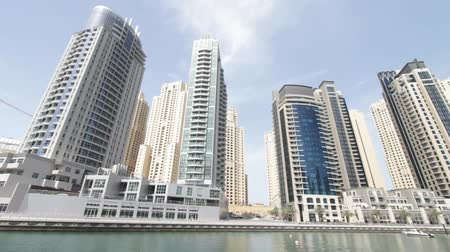 эмираты : Dubai Marina Seen From Boat, United Arab Emirates Стоковые видеозаписи