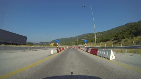 slowing : Driving On A Highway Under Maintenence In Greece Stock Footage