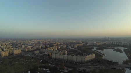 wideangle : Aerial view of Bucharest skyline, Romania, shot from a drone
