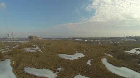 wideangle : Aerial view of the frozen Vacaresti Delta in Bucharest, Romania, shot from a drone
