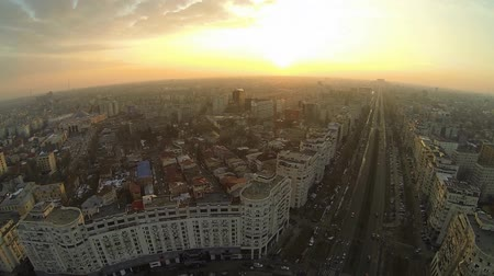 rua : Aerial view of Bucharest, Romania, shot from a drone