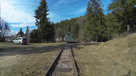 wideangle : Aerial view of Mocanita - a narrow gauge railway train in Covasna, Romania