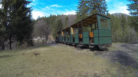rozchod : Aerial view of Mocanita - a narrow gauge railway train in Covasna, Romania