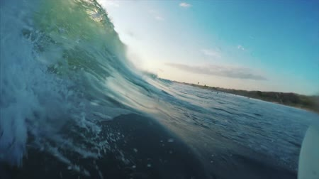 Ocean wave surfing POV with splashes Wideo