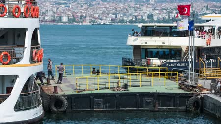 Timelapse of the passenger ferry loading, city of Istanbul, Turkey FHD