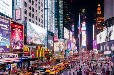 usual : New York, United States - June 29, 2015: Times Square timelapse taken on a busy evening in New York. Like usual there is a lot of people walking around and the image contains visual commercials of multiple companies.