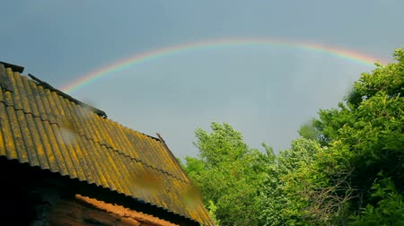 Old shed and rainbow over forest