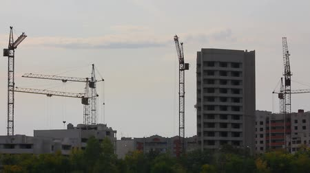 mühendislik : construction cranes working - timelapse