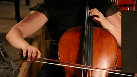 симфония : close-up view on violoncello in orchestra