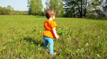 baby infant : Baby first steps on green lawn