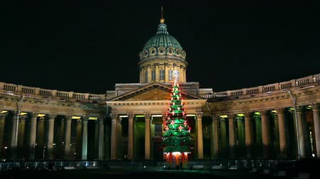 sobor : Kazan Cathedral and Christmas tree at night in St. Petersburg