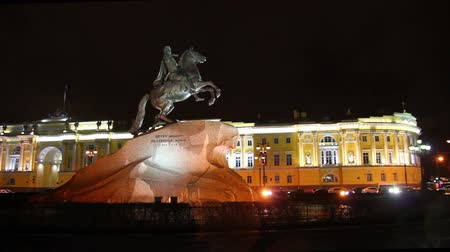 senate and the synod : Peter 1 monument at night in Saint-petersburg, Russia