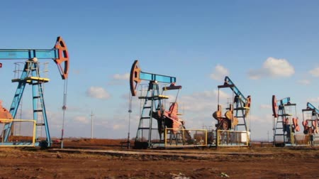 oil industry : working oil pumps in a row