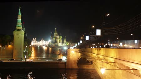 moscow night : Moscow Kremlin night landscape - timelapse