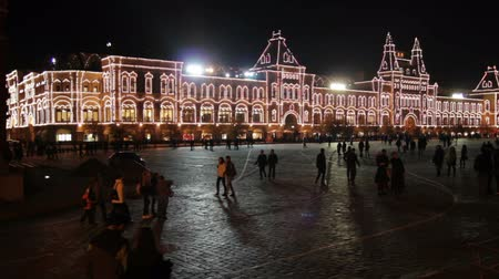 moscow night : GUM shop and Red Square in Moscow Russia