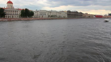neva river : meteor - hydrofoil boat on Neva river in St. Petersburg Russia Stock Footage