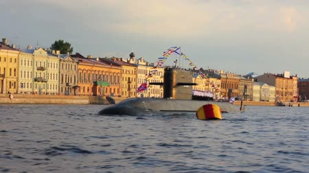 saintpetersburg : submarine on Neva River - day of the Navy in St. Petersburg