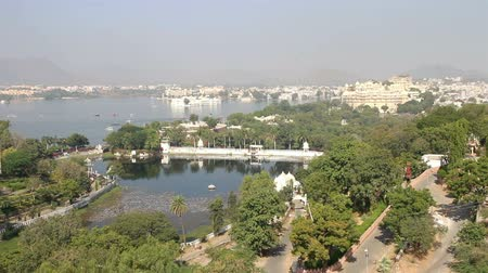 pichola : view from funicular on lake and palaces in Udaipur India