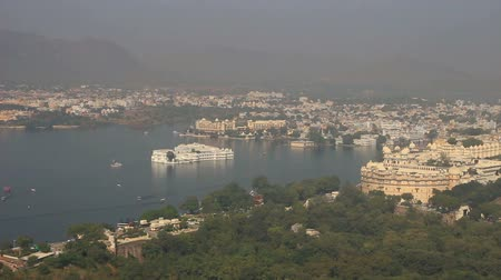 pichola : landscape with lake and palaces in Udaipur India