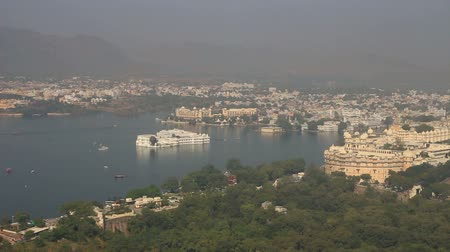 pichola : landscape with lake and palaces in Udaipur India - timelapse