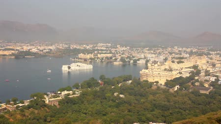 pichola : pan landscape with lake and palaces in Udaipur India
