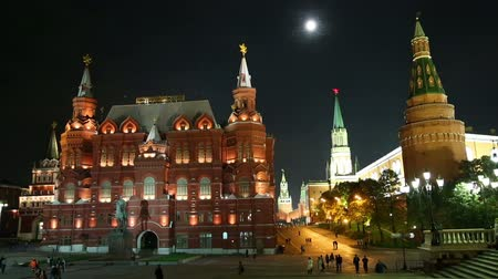 moskwa : Russian Historical Museum on Red Square at nighrt in Moscow, Russia