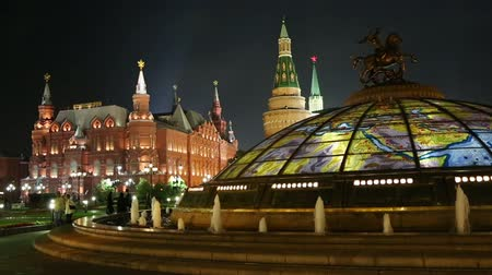 rusya : fountain Watch of the World at the Manege Square in Moscow Russia