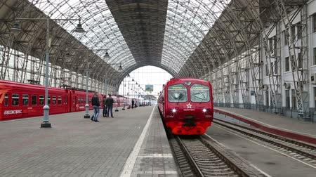 train station : red train arrives at the Kiev station in Moscow Russia