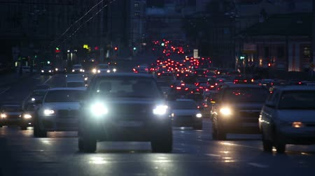 moscow night : evening car traffic at rush hour in moscow - timelapse
