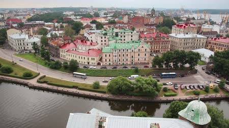 ruský : Vyborg in Russia - view from height of medieval tower of St. Olaf - timelapse