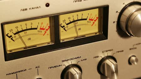 radio wave : stereo decibel meters - part of sound equipment Stock Footage