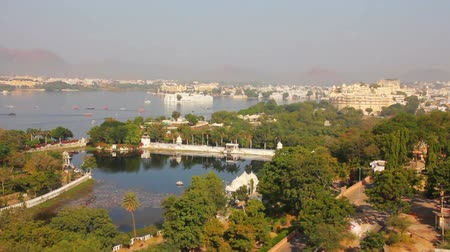 pichola : view from funicular on lake and palaces in Udaipur India - timelapse