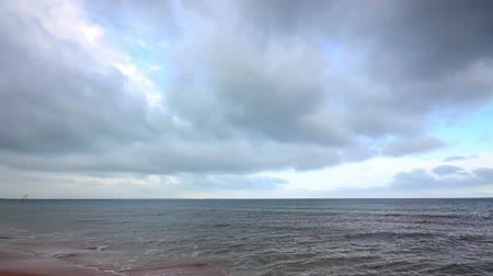 dark sky : dramatic sea landscape with moody sky - timelapse