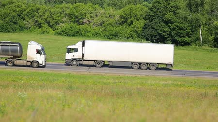 trucks : truck driving on a road Stock Footage