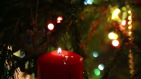 goes : the end of the holiday - the candle goes out and the Christmas lights are switched off Stock Footage