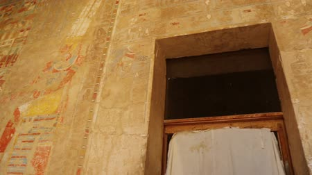 sarcophagus : ancient egypt color images on wall in luxor - pan view Stock Footage