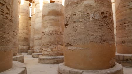 tapınaklar : columns in karnak temple with ancient egypt hieroglyphics - pan view Stok Video
